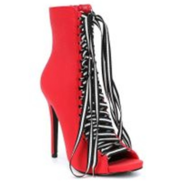 02d00372aa3 New Steve Madden Feugo Red Peep Toe Ankle bootie Boutique